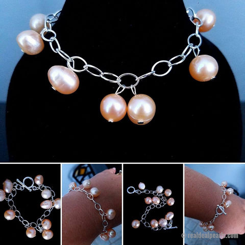 Sterling Silver Monster Oyster Bracelet with Monster Opening and 10 Set Cultured Freshwater Pearls