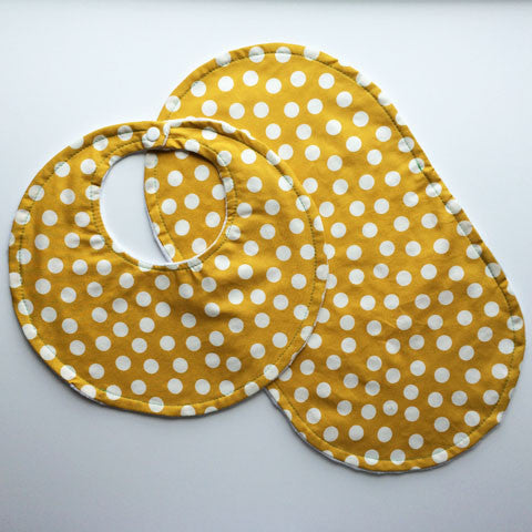Bib + Burp Cloth Set | Mustard Spots
