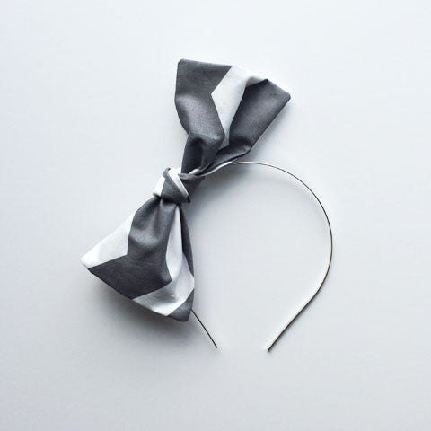 Bow Headband | Grey Chevron