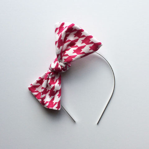 Bow Headband | Pink Houndstooth