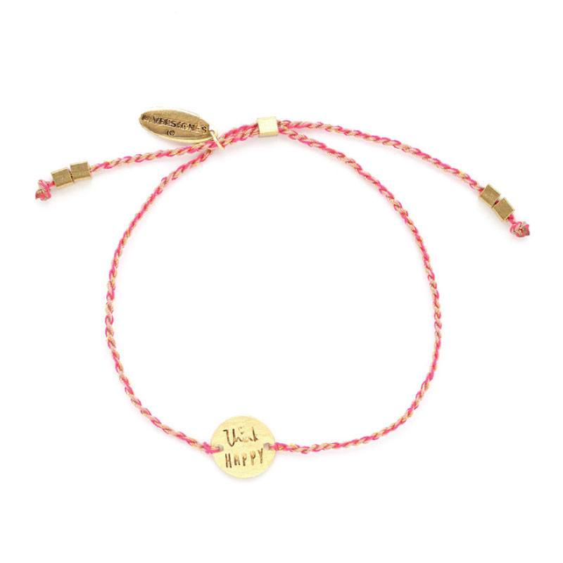 Riverstone's Think Happy Bracelet Gold/Fuchsia