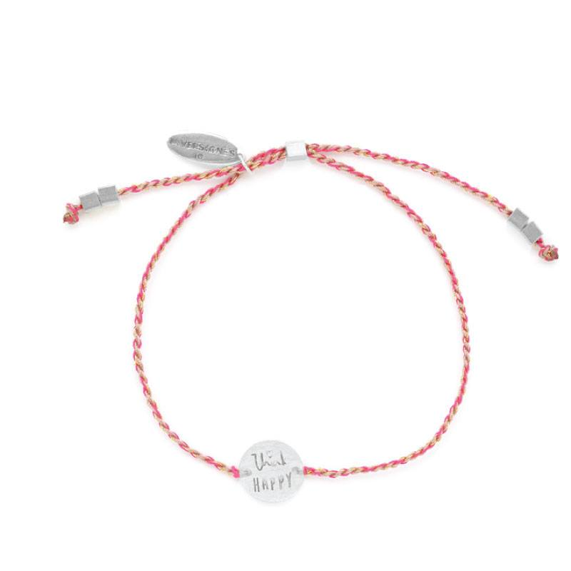 Riverstone's Think Happy Bracelet Silver/Fuchsia