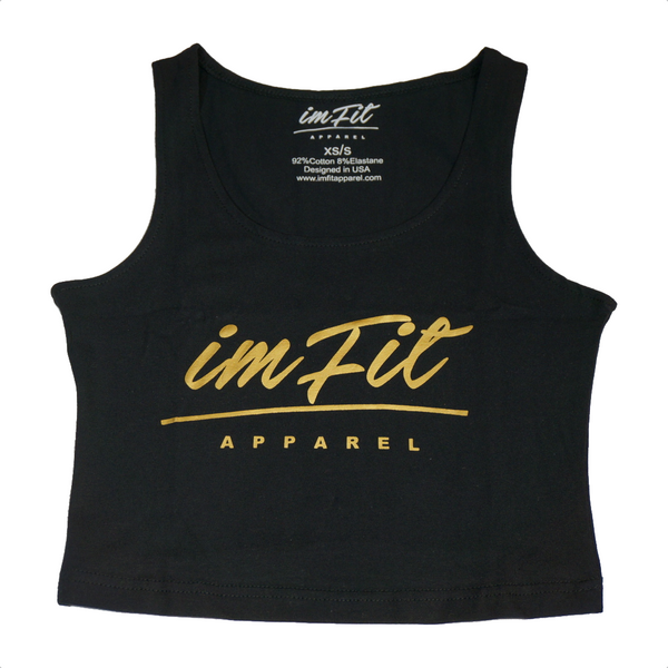 IMFiT Crop Top - Black & Gold 2.0