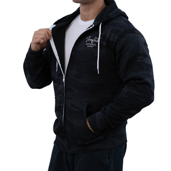 IMFiT ZIP UP HOODIE UNISEX - Black Camo