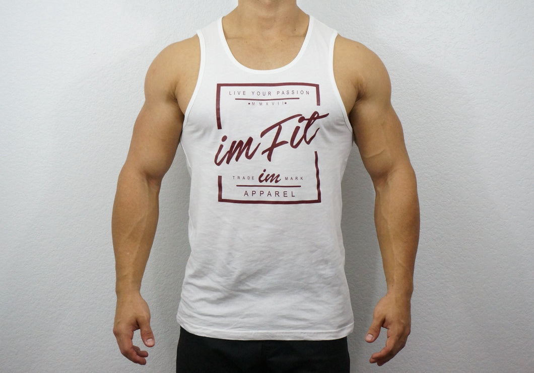 IMFiT Live your passion Tank - White / Burgundy