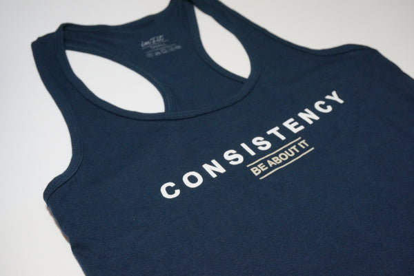 Consistency racer back tank - Navy blue