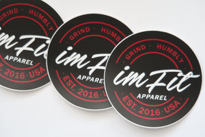 IMFiT Black & Red Circle Logo Stickers