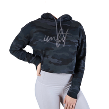 Load image into Gallery viewer, Cropped Hoodie - Black Camo