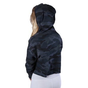 Cropped Hoodie - Black Camo
