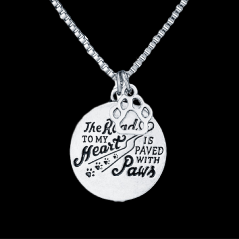 Road Paved With Paw Prints Necklace (Bitzee Blue)