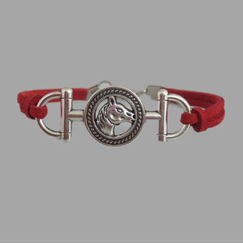 Beautiful And Bold Leather Horse Bracelet!