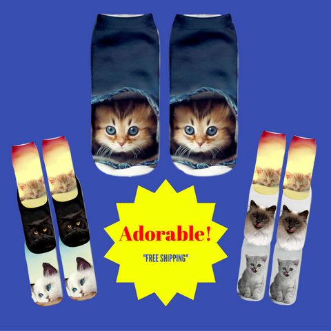 Adorable Cat Socks For The Crazy Cat Lover!