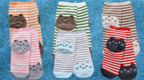 Adorable Soft Cat Striped Cat Socks!