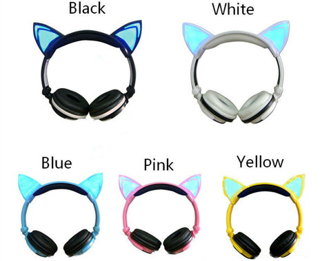 Cat Ears Style Folded Headband Earphone With LED Glowing Lights!