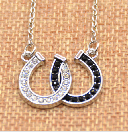 Lucky Rhinestone Double Horse Hoof Horseshoe Pendant Necklace!