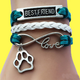 Best Friend Paw Charm Handmade Velvet Leather Bracelet!