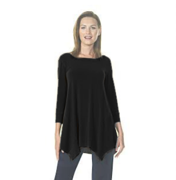 Round Neck Asymetrical Double Dip Tunic (FS)
