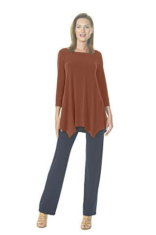 Round Neck Asymetrical Double Dip Tunic (PLUS)