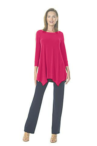 Round Neck Asymetrical Double Dip Tunic