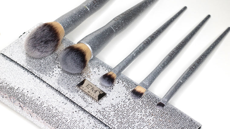 Glimmer Vegan Brush Set In Stunning Silver Glitter - Ely Maya