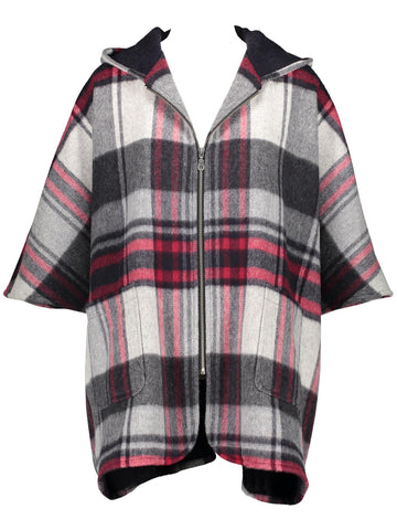 Style: A310CP05NAV,  Plaid Hooded Cape