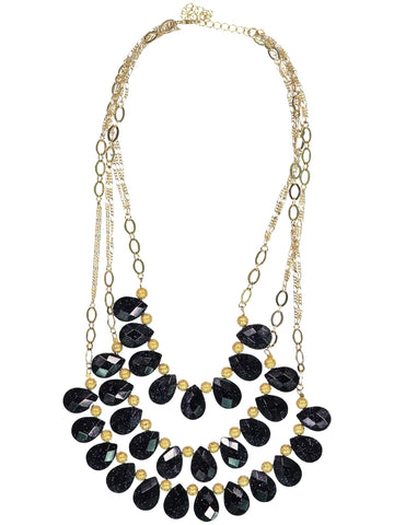 Style: A310NK03PUR,  Teardrop Faceted Stone  Necklace