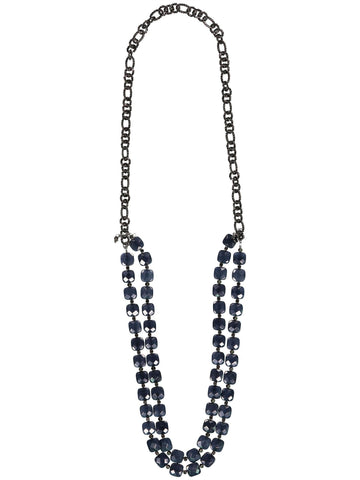 Style: A310NK04NEP,  Tri-Level Gunmetal and Stone Necklace