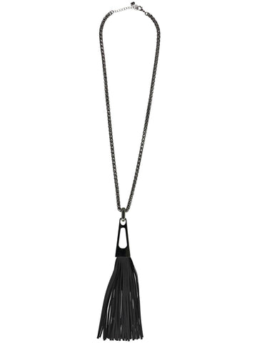 Style: A310NK05BLA,  Gunmetal and Black Tassel Necklace