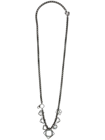 Style: A310NK06GUN,  Crystal and Gunmetal Necklace