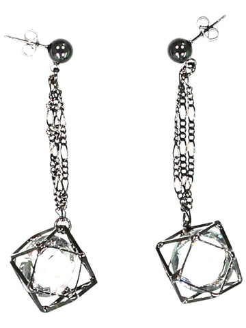 Style: A310ER01GUN,  Gunmetal and Crystal Dangle Earring