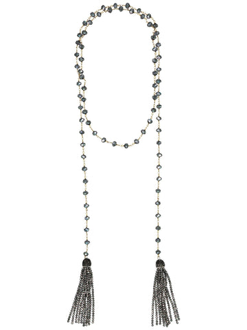 Style: A310NK02GUN,  Faceted Bead and Crystal Tassel Necklace