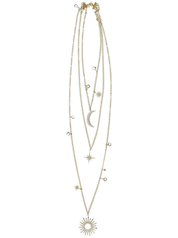 Style: A314NK03GOL,  Gold Galaxy Inspired Necklace