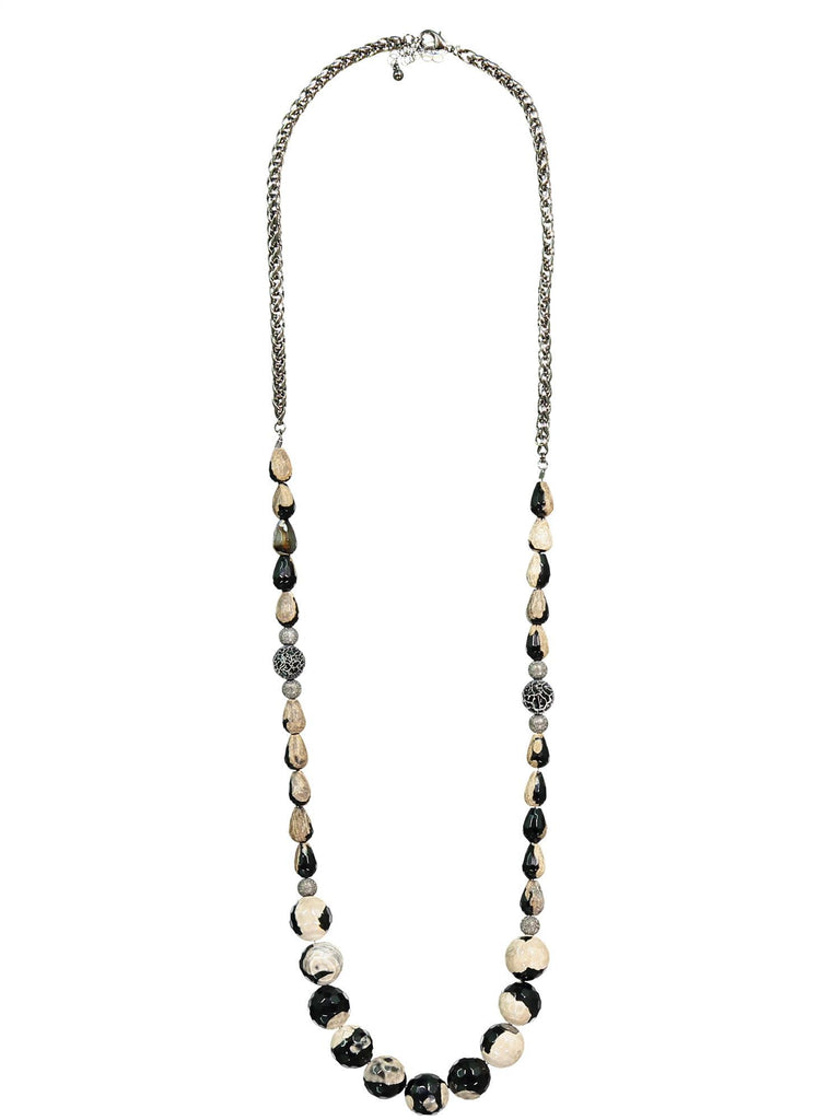 Style: A320NK03BLA,  Faceted Teardrop Bead Necklace