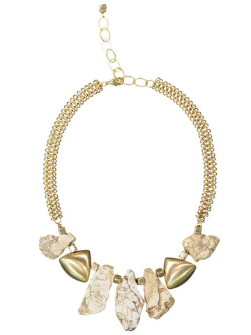 Style: A320NK04WHI,  White Turquoise  and Matte Gold Necklace