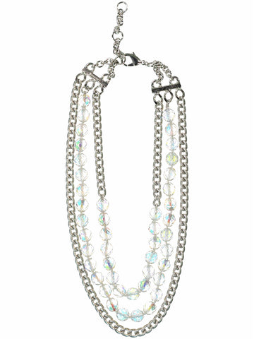 Style: A320NK05SIL,  Triple Strand Silver and Bead Necklace