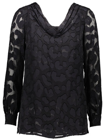 Style: M310BL40BLA,  Abstract Animal Print Blouse