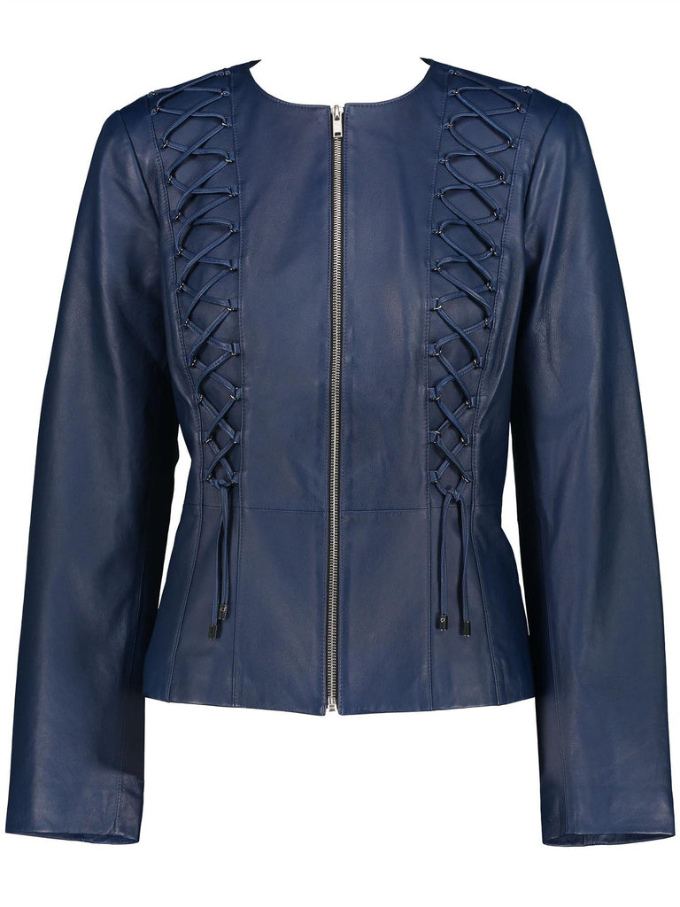 Lacing Detail Leather Jacket