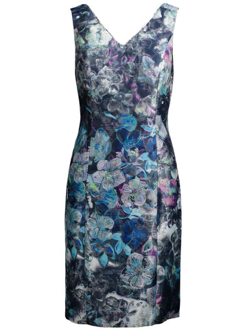 Style: M314DR10STO,  Metallic Flower Print Dress