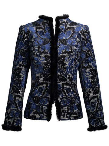 Mink Trimmed Chenille Paisley Jacquard Jacket