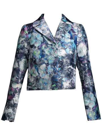Style: M314JK10STO,  Metallic Flower Print Jacket