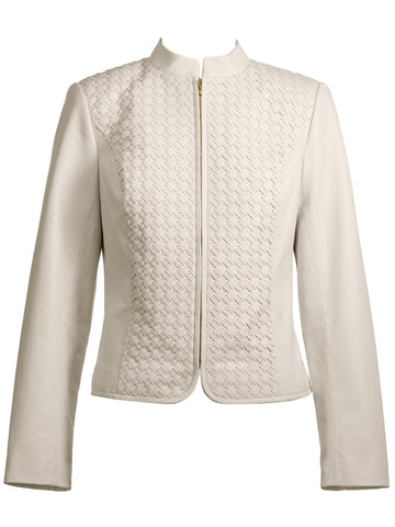 Style: M314JK23IVO,  Basket Weave Lamb Leather Jacket
