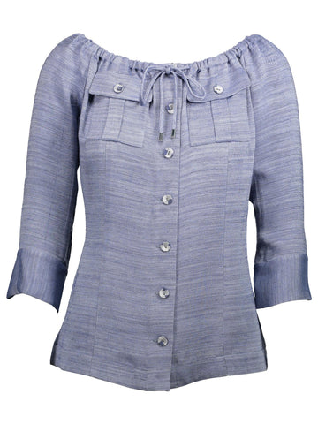 Style: M320BL28CHA,  Viscose Chambray Denim Blouse