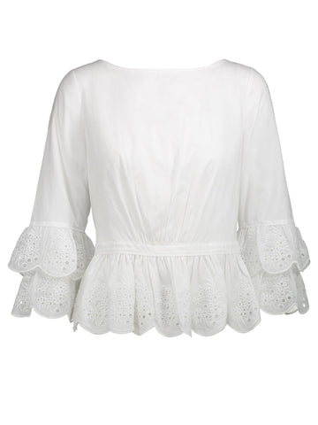 Style: M320BL33WHI,  Cotton Tiered Blouse