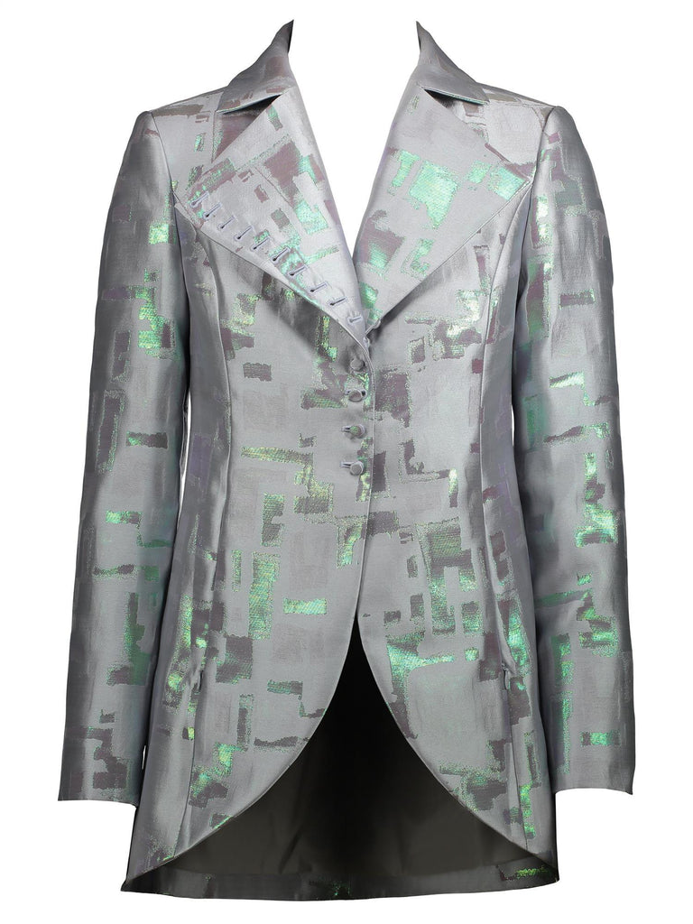 Style: M320JK05DOV,  Abstract Iridescent Jacquard Jacket