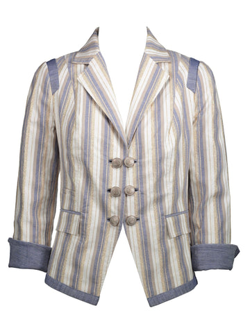 Style: M320JK27CHA,  Gold Denim Stripe Jacket