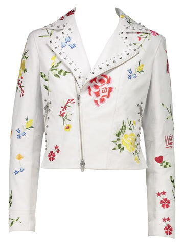 Style: M320JK44WHI,  Flower Print Leather Jacket