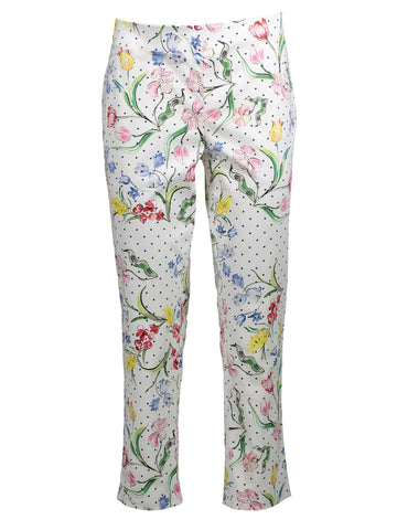 Style: M320PT45WHI,  Flower Dot Stretch Twill Tina Pant