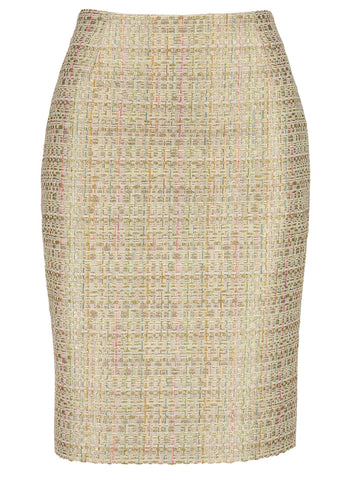 Style: M320SK22ALM,  Multi Color Gold Tweed Skirt