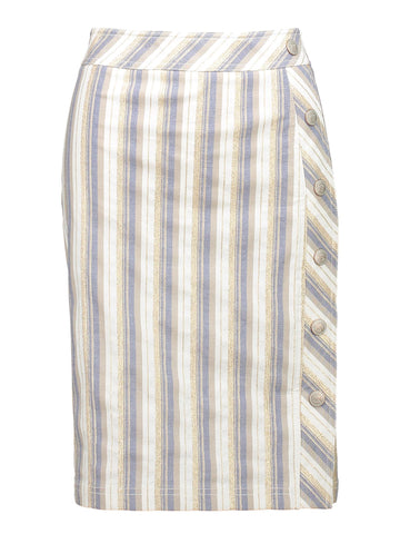 Style: M320SK27CHA,  Gold Denim Stripe Skirt