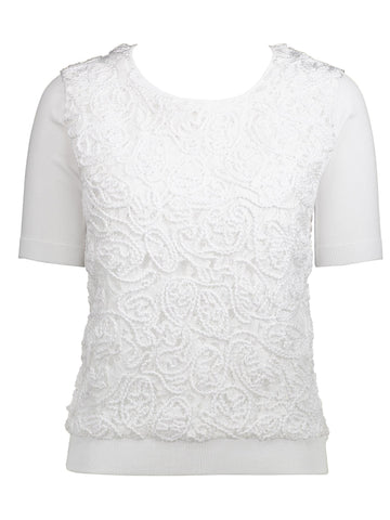 Style: M320SW57WHI,  Cord On Lace Matte Rayon Sweater